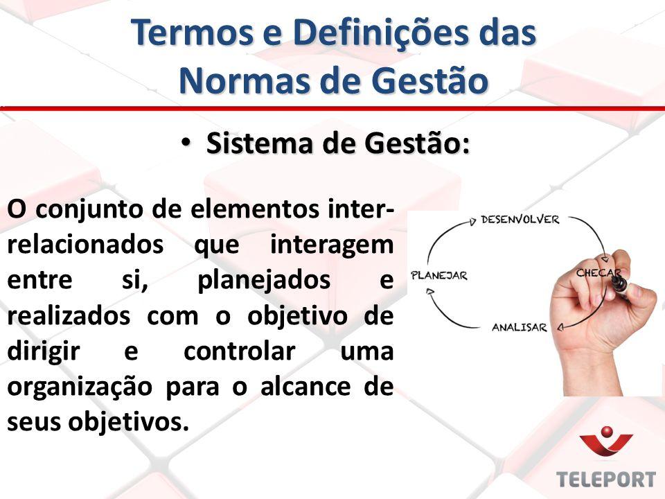Termos e Definições das Normas de Gestão O conjunto de elementos inter- relacionados que interagem entre si, planejados e realizados com o objetivo de