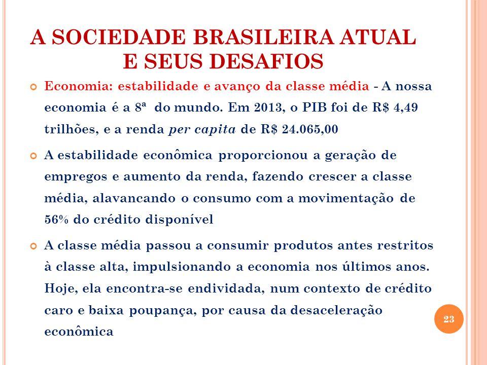 A SOCIEDADE BRASILEIRA ATUAL E SEUS DESAFIOS Economia: estabilidade e avanço da classe média - A nossa economia é a 8ª do mundo.