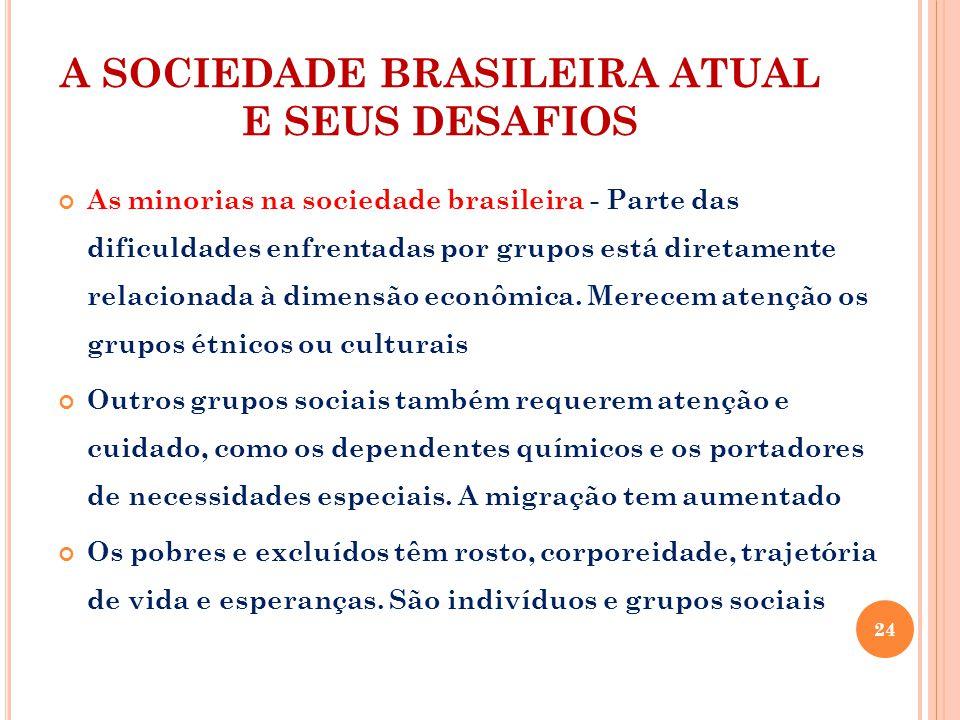 A SOCIEDADE BRASILEIRA ATUAL E SEUS DESAFIOS As minorias na sociedade brasileira - Parte das dificuldades enfrentadas por grupos está diretamente relacionada à dimensão econômica.