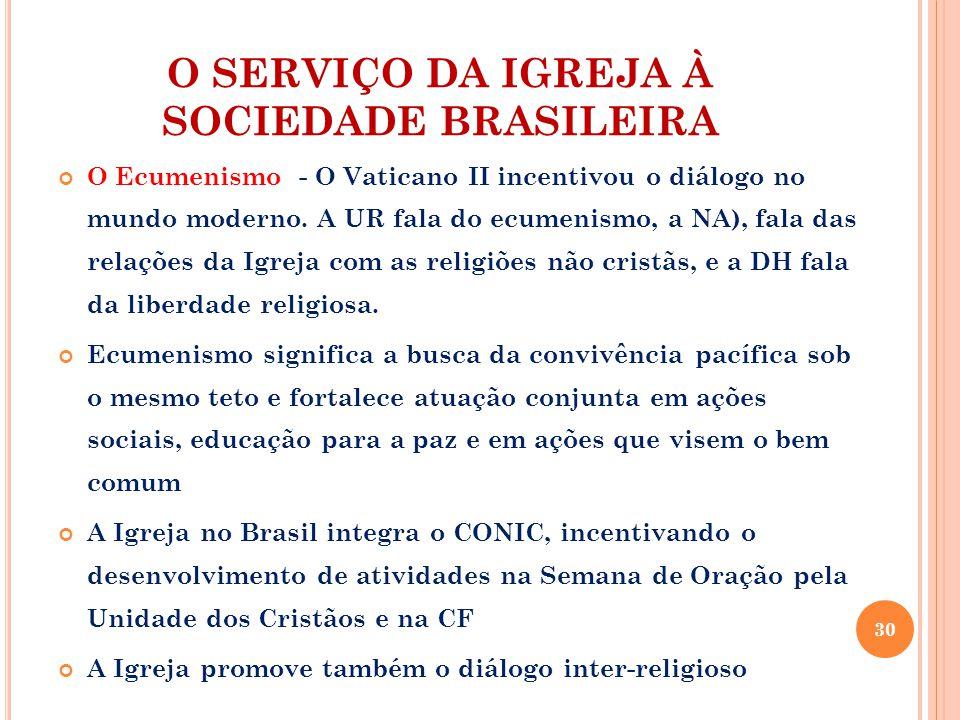 O SERVIÇO DA IGREJA À SOCIEDADE BRASILEIRA O Ecumenismo - O Vaticano II incentivou o diálogo no mundo moderno.