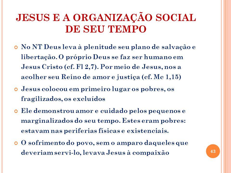 JESUS E A ORGANIZAÇÃO SOCIAL DE SEU TEMPO No NT Deus leva à plenitude seu plano de salvação e libertação.