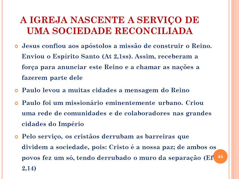 A IGREJA NASCENTE A SERVIÇO DE UMA SOCIEDADE RECONCILIADA Jesus confiou aos apóstolos a missão de construir o Reino.