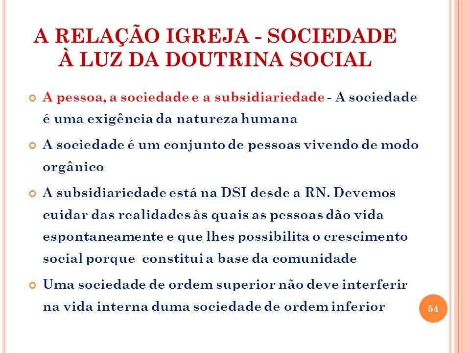 A RELAÇÃO IGREJA - SOCIEDADE À LUZ DA DOUTRINA SOCIAL A pessoa, a sociedade e a subsidiariedade - A sociedade é uma exigência da natureza humana A sociedade é um conjunto de pessoas vivendo de modo orgânico A subsidiariedade está na DSI desde a RN.