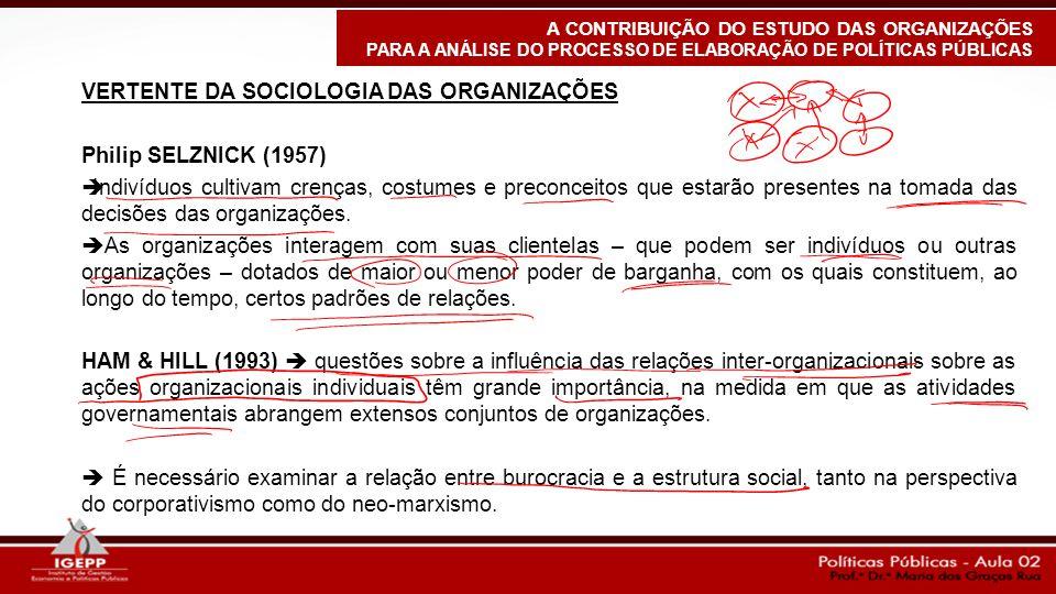VERTENTE DA SOCIOLOGIA DAS ORGANIZAÇÕES Philip SELZNICK (1957)  Indivíduos cultivam crenças, costumes e preconceitos que estarão presentes na tomada