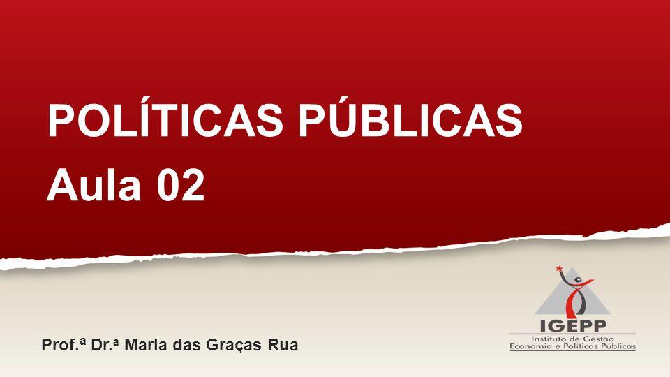 POLÍTICAS PÚBLICAS Aula 02 Prof. a Dr. a Maria das Graças Rua
