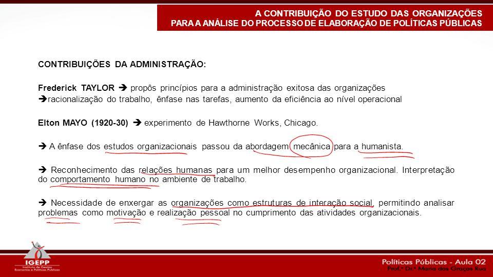 CONTRIBUIÇÕES DA ADMINISTRAÇÃO: Frederick TAYLOR  propôs princípios para a administração exitosa das organizações  racionalização do trabalho, ênfas