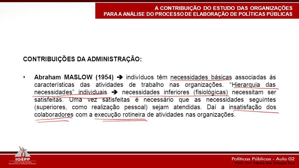 CONTRIBUIÇÕES DA ADMINISTRAÇÃO: Abraham MASLOW (1954)  indivíduos têm necessidades básicas associadas às características das atividades de trabalho n