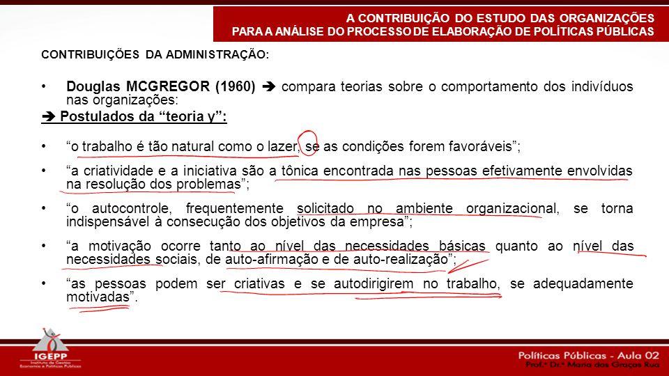"""CONTRIBUIÇÕES DA ADMINISTRAÇÃO: Douglas MCGREGOR (1960)  compara teorias sobre o comportamento dos indivíduos nas organizações:  Postulados da """"teor"""