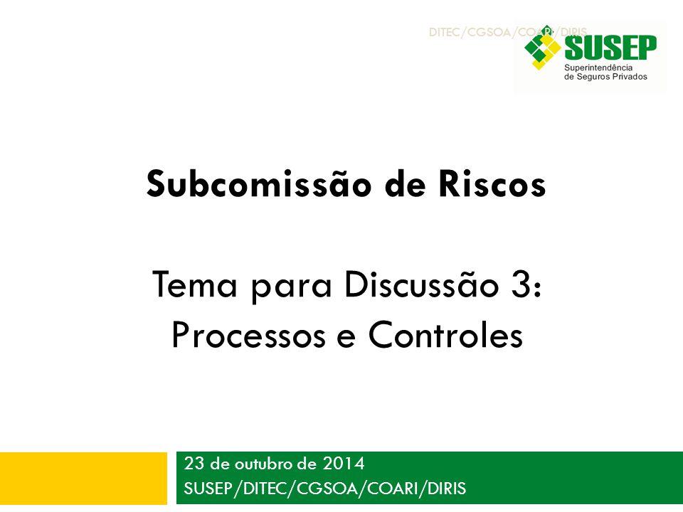 23 de outubro de 2014 SUSEP/DITEC/CGSOA/COARI/DIRIS Subcomissão de Riscos Tema para Discussão 3: Processos e Controles DITEC/CGSOA/COARI/DIRIS