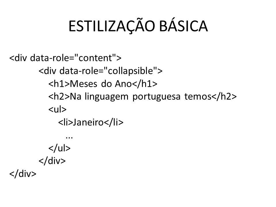 ESTILIZAÇÃO BÁSICA Meses do Ano Na linguagem portuguesa temos Janeiro...