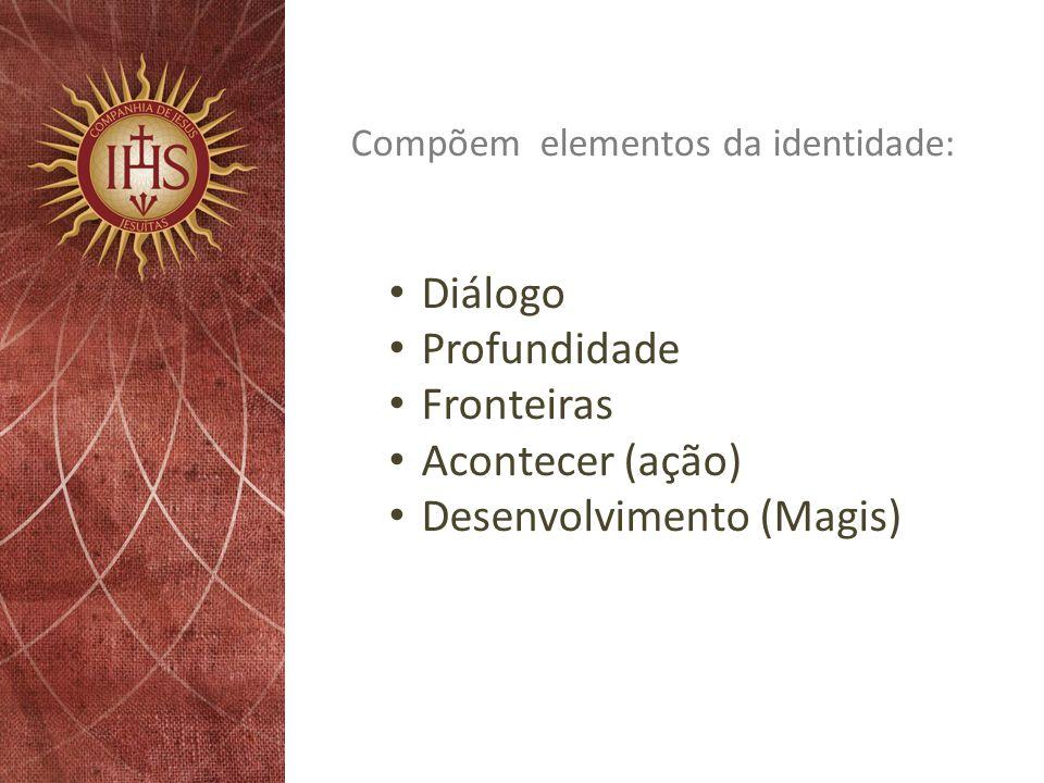 Compõem elementos da identidade: Diálogo Profundidade Fronteiras Acontecer (ação) Desenvolvimento (Magis)