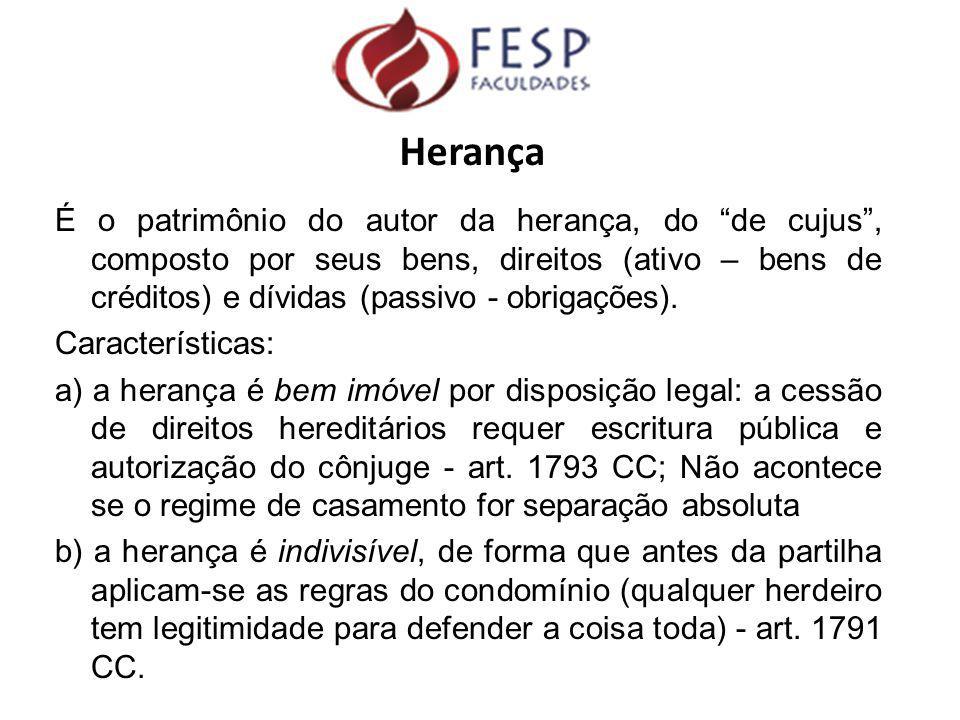 """Herança É o patrimônio do autor da herança, do """"de cujus"""", composto por seus bens, direitos (ativo – bens de créditos) e dívidas (passivo - obrigações"""