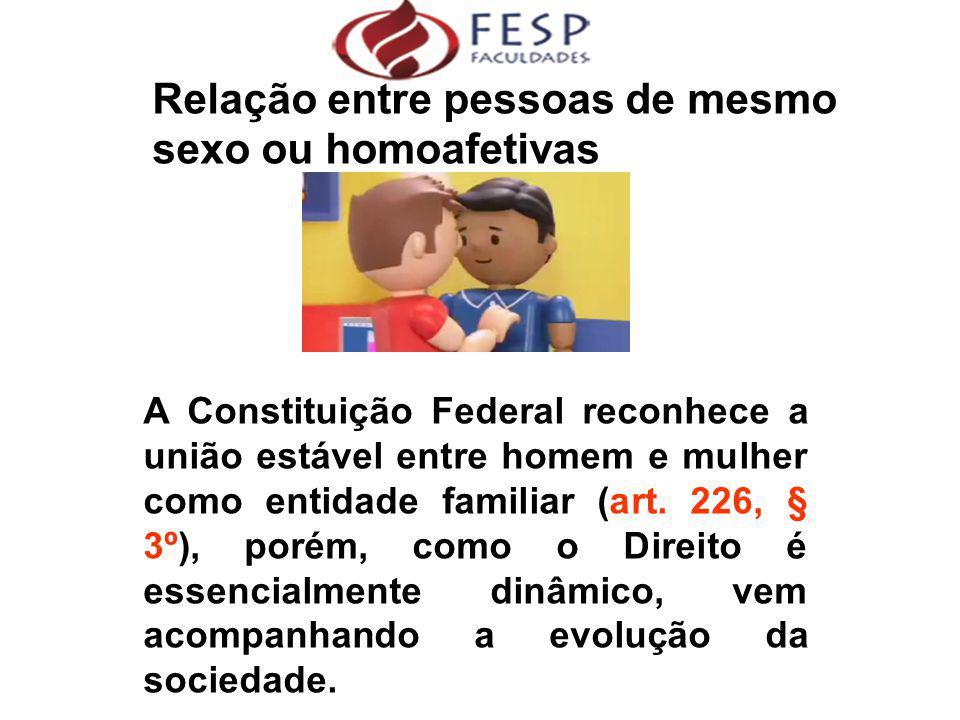Relação entre pessoas de mesmo sexo ou homoafetivas  A Constituição Federal reconhece a união estável entre homem e mulher como entidade familiar (ar