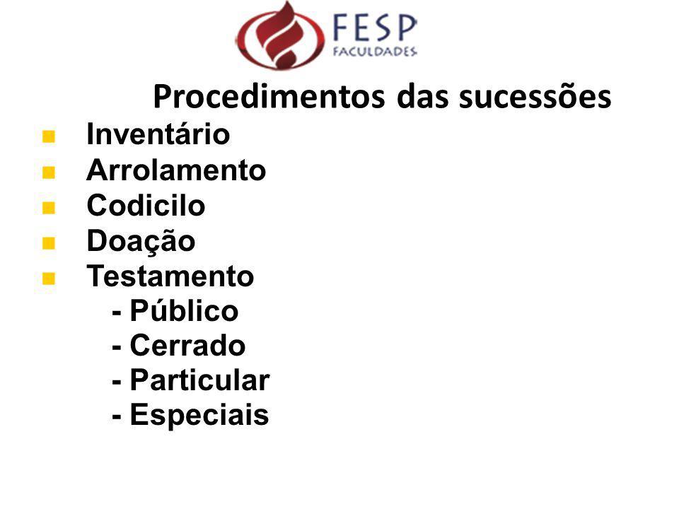 Inventário Arrolamento Codicilo Doação Testamento - Público - Cerrado - Particular - Especiais Procedimentos das sucessões