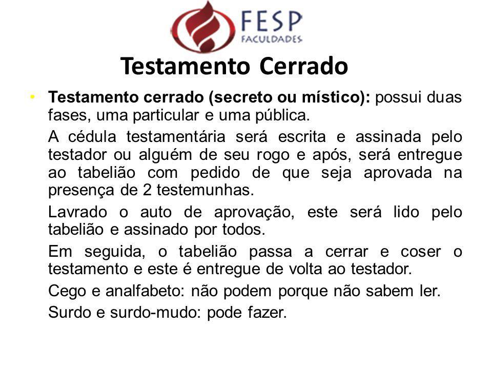 Testamento cerrado (secreto ou místico): possui duas fases, uma particular e uma pública. A cédula testamentária será escrita e assinada pelo testador