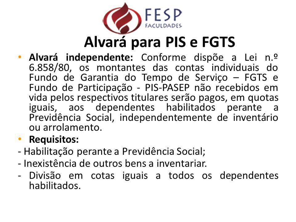 Alvará independente: Conforme dispõe a Lei n.º 6.858/80, os montantes das contas individuais do Fundo de Garantia do Tempo de Serviço – FGTS e Fundo d