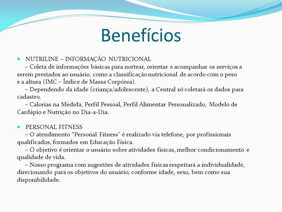 Benefícios NUTRILINE – INFORMAÇÃO NUTRICIONAL – Coleta de informações básicas para nortear, orientar e acompanhar os serviços a serem prestados ao usu