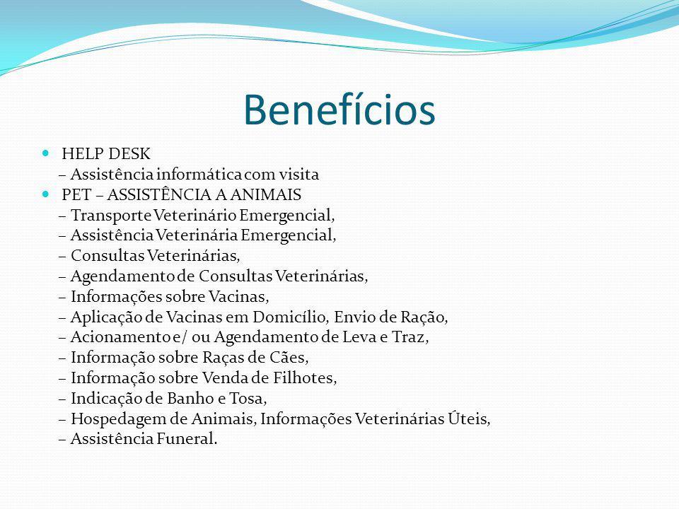 Benefícios HELP DESK – Assistência informática com visita PET – ASSISTÊNCIA A ANIMAIS – Transporte Veterinário Emergencial, – Assistência Veterinária Emergencial, – Consultas Veterinárias, – Agendamento de Consultas Veterinárias, – Informações sobre Vacinas, – Aplicação de Vacinas em Domicílio, Envio de Ração, – Acionamento e/ ou Agendamento de Leva e Traz, – Informação sobre Raças de Cães, – Informação sobre Venda de Filhotes, – Indicação de Banho e Tosa, – Hospedagem de Animais, Informações Veterinárias Úteis, – Assistência Funeral.