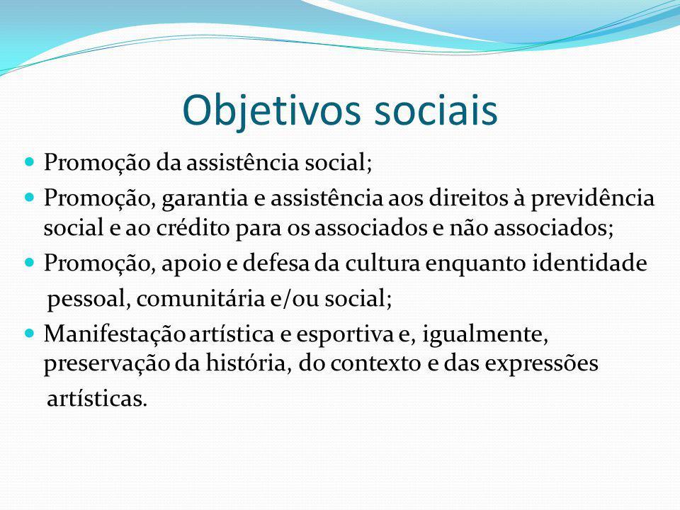 Objetivos sociais Promoção da assistência social; Promoção, garantia e assistência aos direitos à previdência social e ao crédito para os associados e