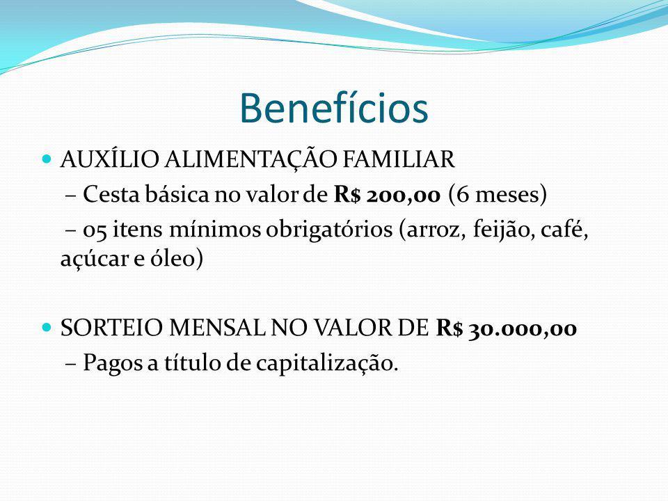Benefícios AUXÍLIO ALIMENTAÇÃO FAMILIAR – Cesta básica no valor de R$ 200,00 (6 meses) – 05 itens mínimos obrigatórios (arroz, feijão, café, açúcar e óleo) SORTEIO MENSAL NO VALOR DE R$ 30.000,00 – Pagos a título de capitalização.