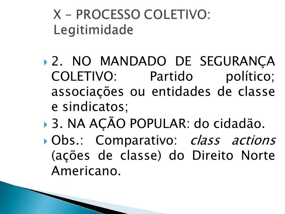  2. NO MANDADO DE SEGURANÇA COLETIVO: Partido político; associações ou entidades de classe e sindicatos;  3. NA AÇÃO POPULAR: do cidadão.  Obs.: Co