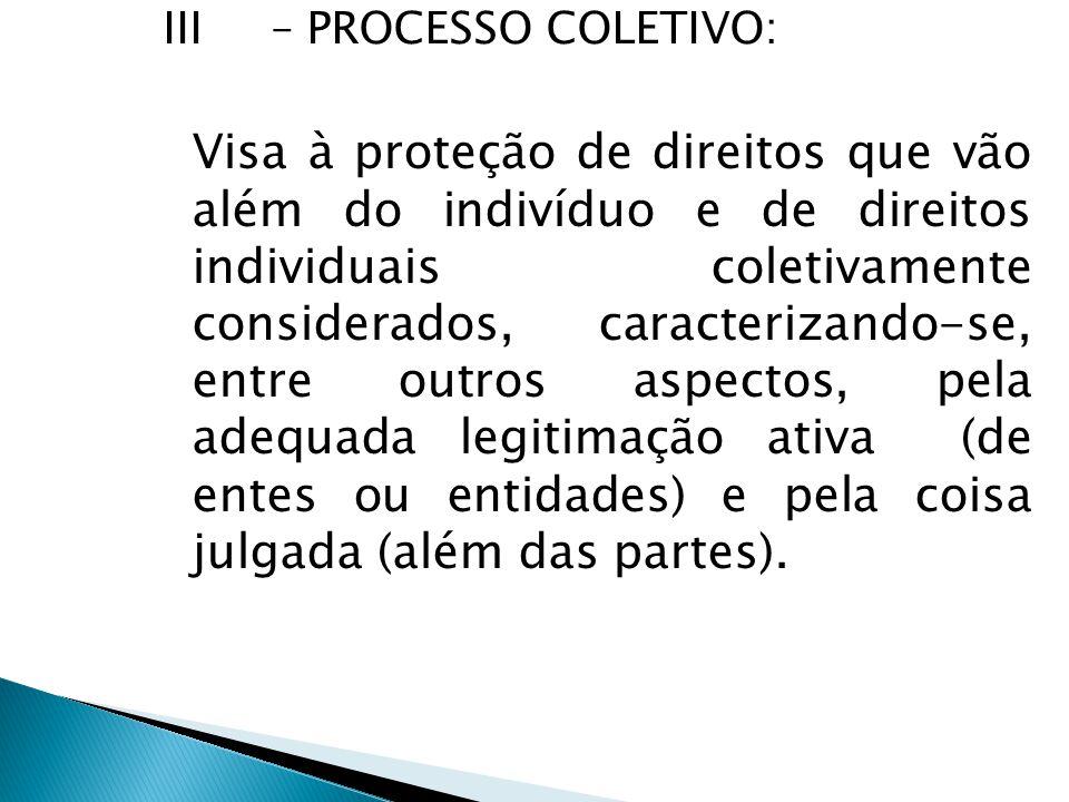 III – PROCESSO COLETIVO: Visa à proteção de direitos que vão além do indivíduo e de direitos individuais coletivamente considerados, caracterizando-se, entre outros aspectos, pela adequada legitimação ativa (de entes ou entidades) e pela coisa julgada (além das partes).