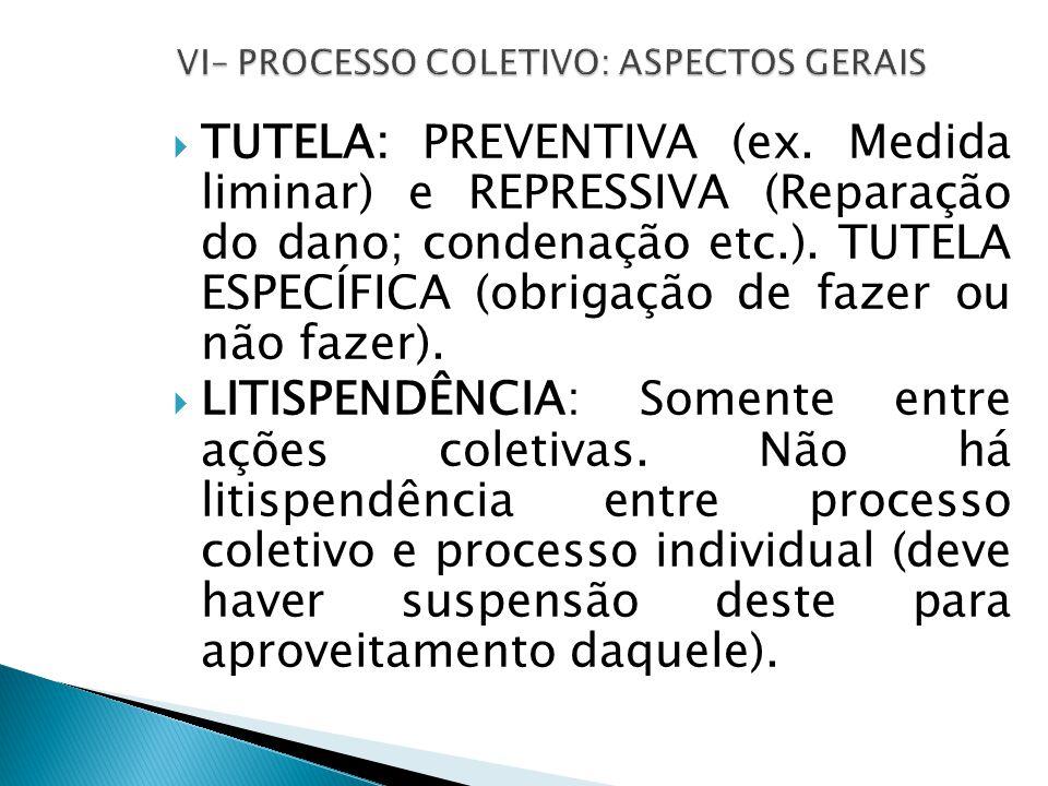  TUTELA: PREVENTIVA (ex. Medida liminar) e REPRESSIVA (Reparação do dano; condenação etc.).