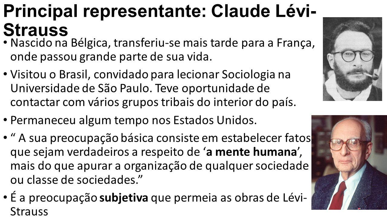 Principal representante: Claude Lévi- Strauss Nascido na Bélgica, transferiu-se mais tarde para a França, onde passou grande parte de sua vida. Visito