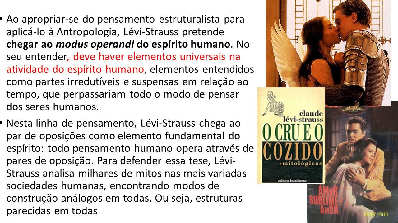 Ao apropriar-se do pensamento estruturalista para aplicá-lo à Antropologia, Lévi-Strauss pretende chegar ao modus operandi do espírito humano. No seu