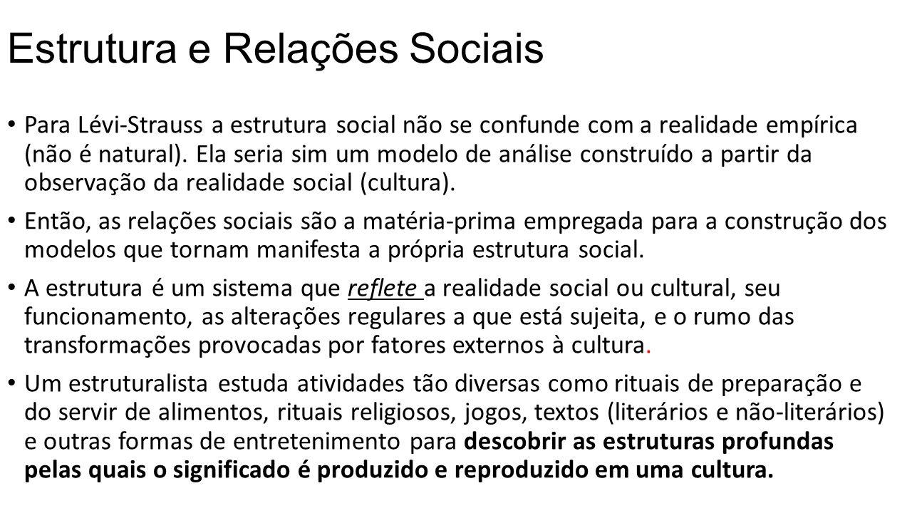 Estrutura e Relações Sociais Para Lévi-Strauss a estrutura social não se confunde com a realidade empírica (não é natural). Ela seria sim um modelo de
