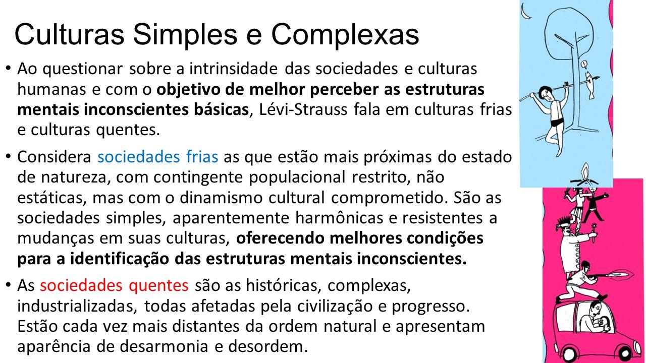 Culturas Simples e Complexas Ao questionar sobre a intrinsidade das sociedades e culturas humanas e com o objetivo de melhor perceber as estruturas me