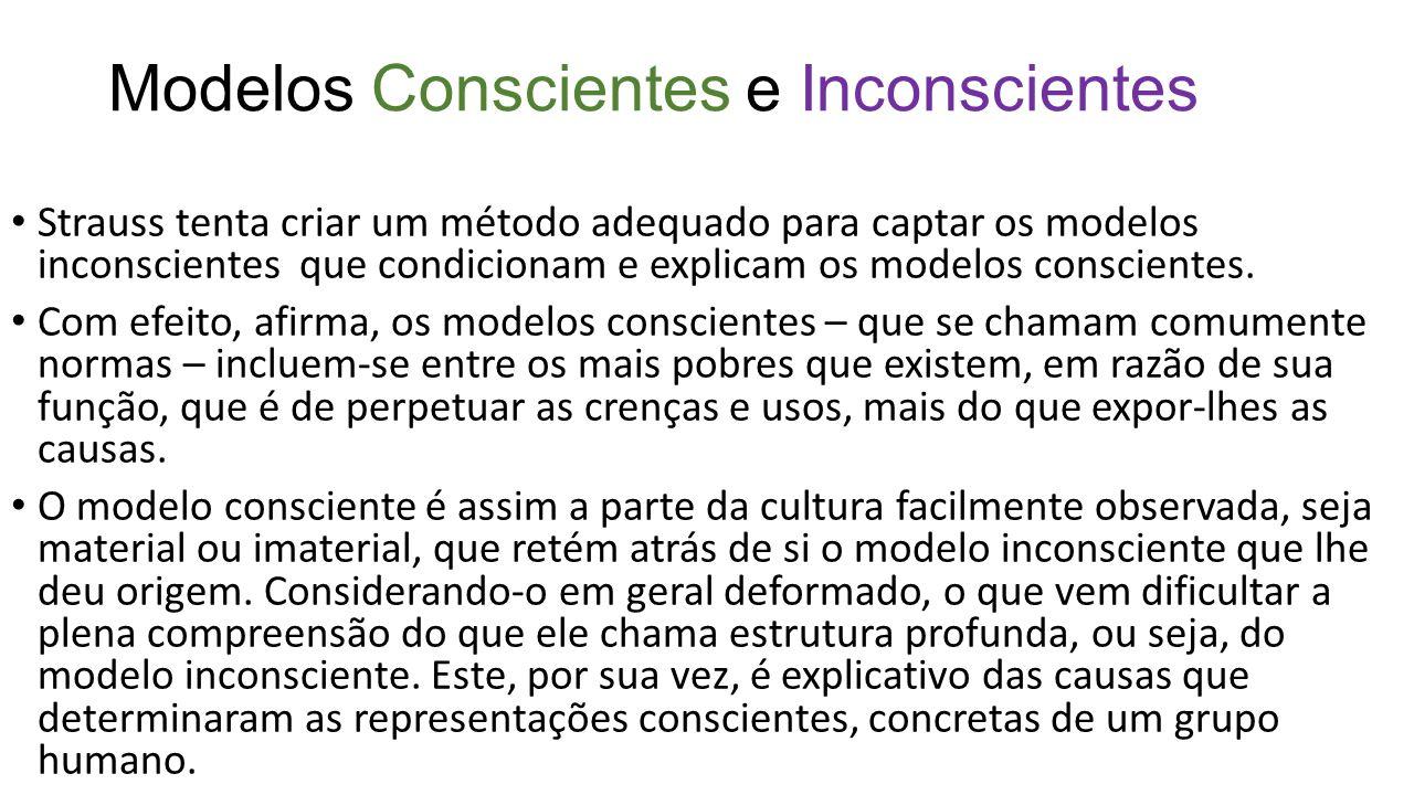 Modelos Conscientes e Inconscientes Strauss tenta criar um método adequado para captar os modelos inconscientes que condicionam e explicam os modelos