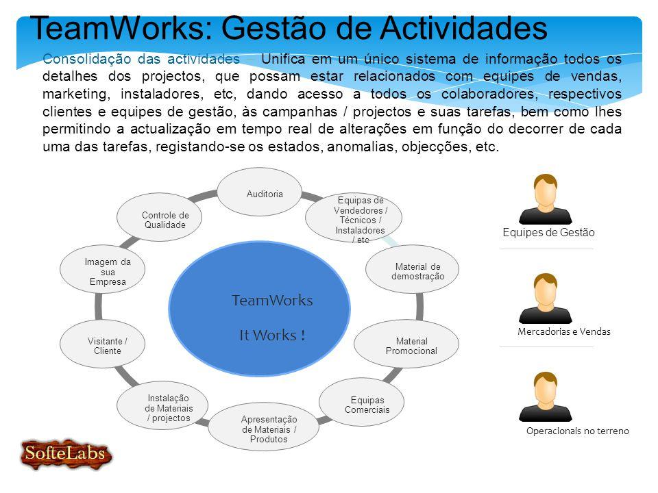 TeamWorks: Gestão de Actividades Consolidação das actividades – Unifica em um único sistema de informação todos os detalhes dos projectos, que possam estar relacionados com equipes de vendas, marketing, instaladores, etc, dando acesso a todos os colaboradores, respectivos clientes e equipes de gestão, às campanhas / projectos e suas tarefas, bem como lhes permitindo a actualização em tempo real de alterações em função do decorrer de cada uma das tarefas, registando-se os estados, anomalias, objecções, etc.