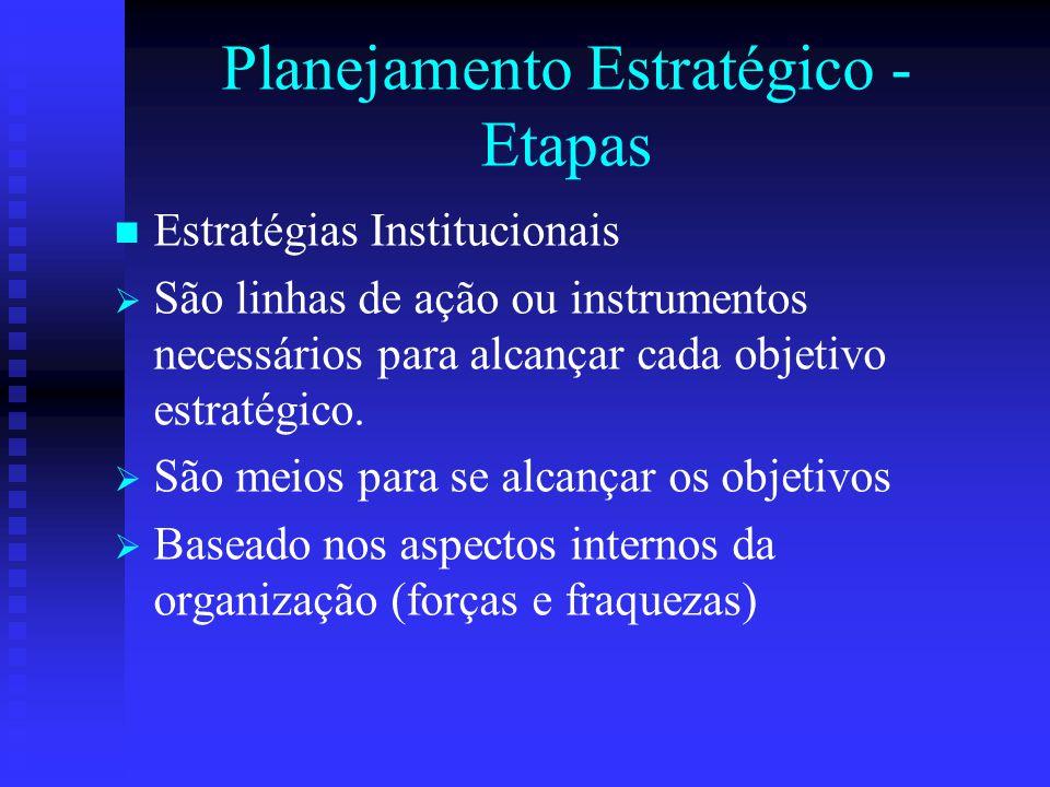 Planejamento Estratégico - Etapas Estratégias Institucionais   São linhas de ação ou instrumentos necessários para alcançar cada objetivo estratégic