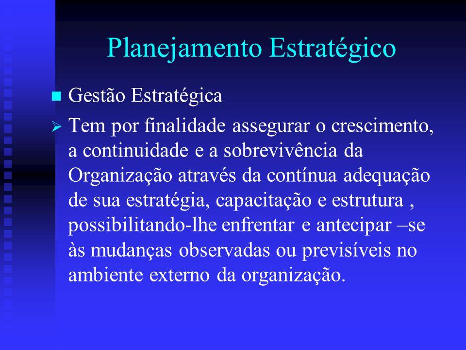 Planejamento Estratégico Gestão Estratégica   Tem por finalidade assegurar o crescimento, a continuidade e a sobrevivência da Organização através da