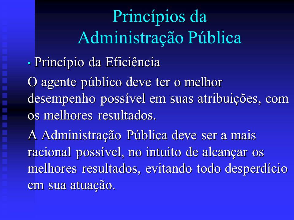 Princípios da Administração Pública Princípio da Eficiência Princípio da Eficiência O agente público deve ter o melhor desempenho possível em suas atr