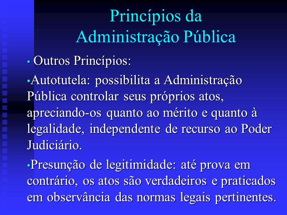 Princípios da Administração Pública Outros Princípios: Outros Princípios: Autotutela: possibilita a Administração Pública controlar seus próprios atos