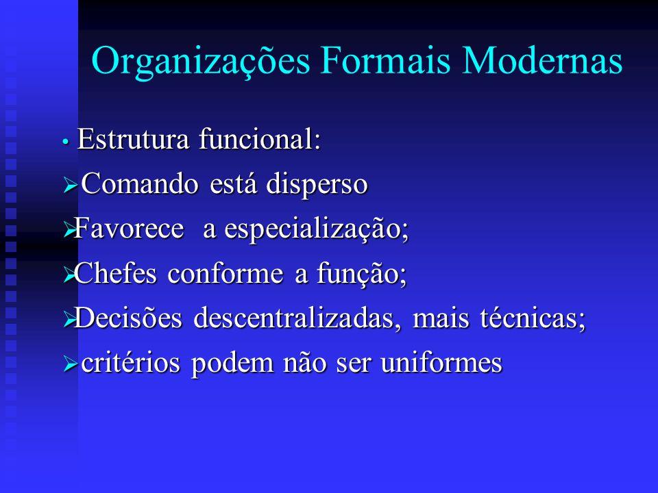 Organizações Formais Modernas Estrutura funcional: Estrutura funcional:  Comando está disperso  Favorece a especialização;  Chefes conforme a funçã