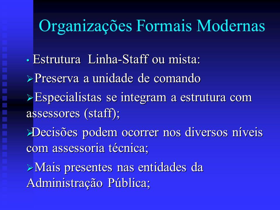 Organizações Formais Modernas Estrutura Linha-Staff ou mista: Estrutura Linha-Staff ou mista:  Preserva a unidade de comando  Especialistas se integ