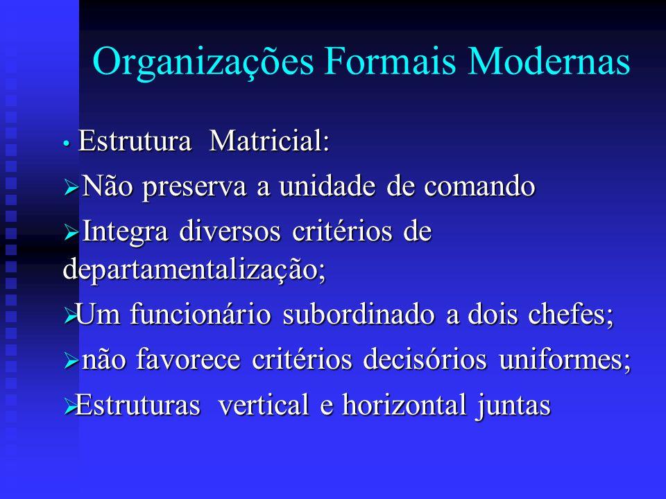 Organizações Formais Modernas Estrutura Matricial: Estrutura Matricial:  Não preserva a unidade de comando  Integra diversos critérios de departamen