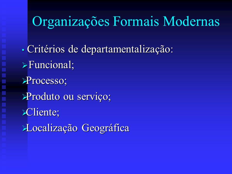 Organizações Formais Modernas Critérios de departamentalização: Critérios de departamentalização:  Funcional;  Processo;  Produto ou serviço;  Cli