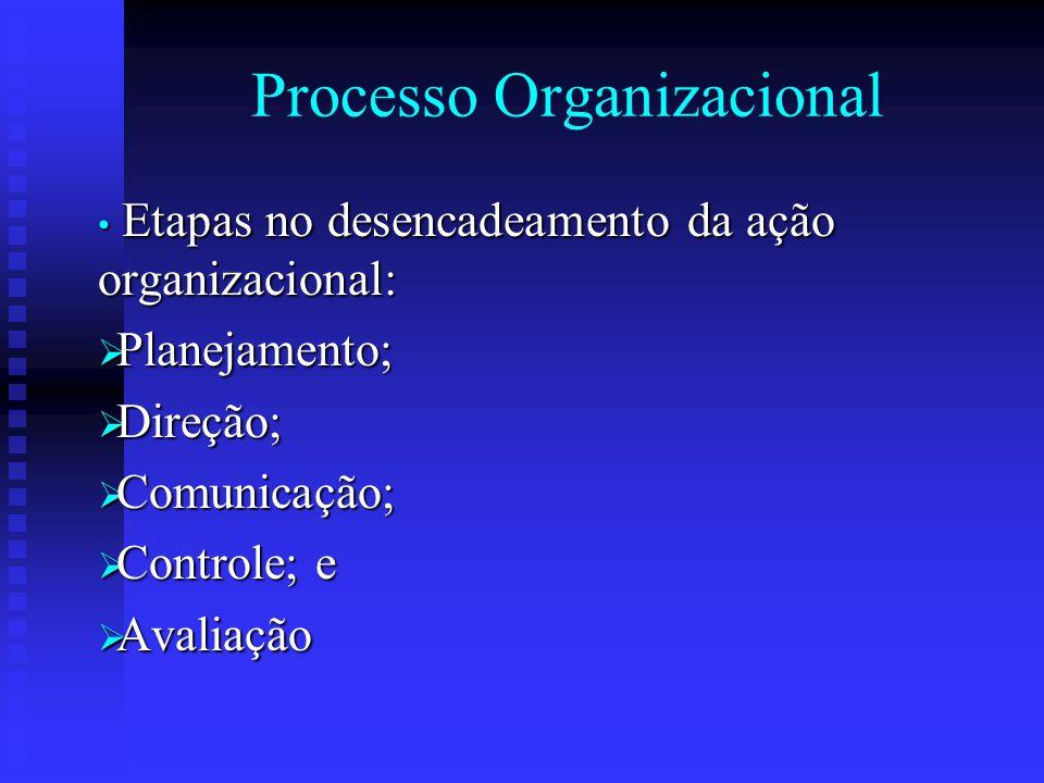 Processo Organizacional Etapas no desencadeamento da ação organizacional: Etapas no desencadeamento da ação organizacional:  Planejamento;  Direção;
