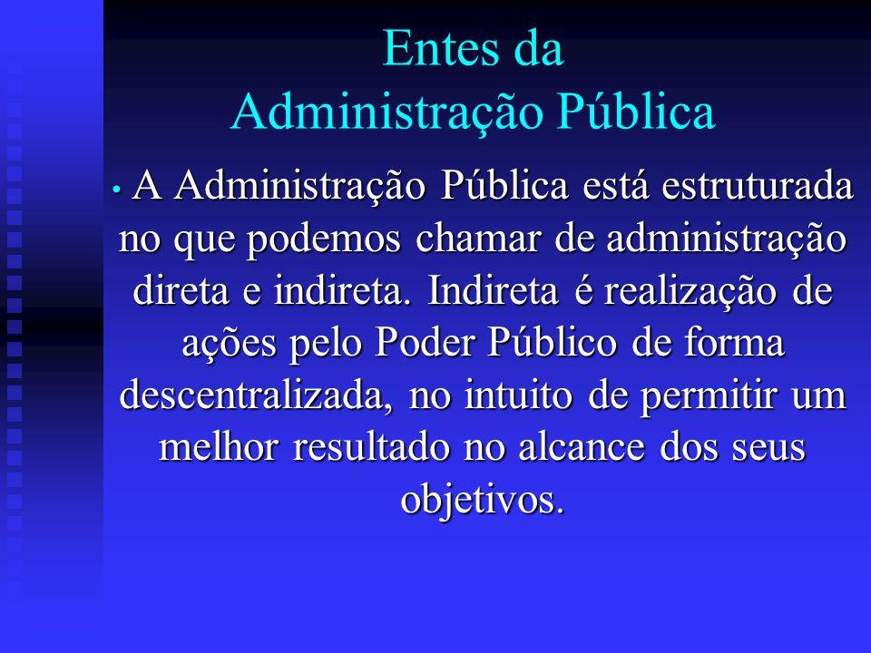 Entes da Administração Pública A Administração Pública está estruturada no que podemos chamar de administração direta e indireta. Indireta é realizaçã