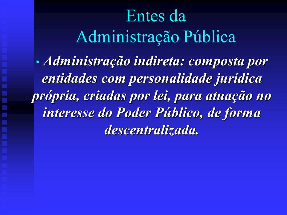 Entes da Administração Pública Administração indireta: composta por entidades com personalidade jurídica própria, criadas por lei, para atuação no int