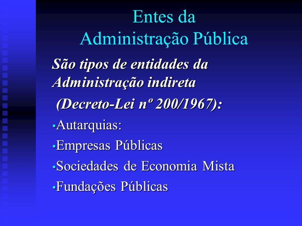 Entes da Administração Pública São tipos de entidades da Administração indireta (Decreto-Lei nº 200/1967): (Decreto-Lei nº 200/1967): Autarquias: Auta