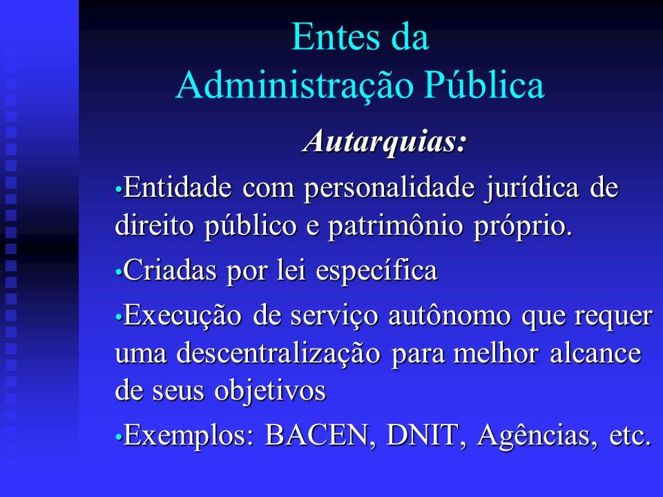 Entes da Administração Pública Autarquias: Entidade com personalidade jurídica de direito público e patrimônio próprio. Entidade com personalidade jur