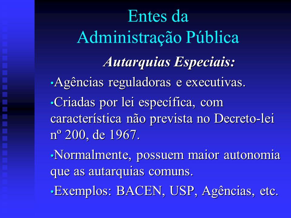Entes da Administração Pública Autarquias Especiais: Agências reguladoras e executivas. Agências reguladoras e executivas. Criadas por lei específica,