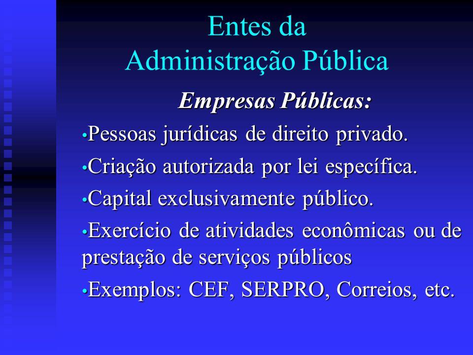 Entes da Administração Pública Empresas Públicas: Pessoas jurídicas de direito privado. Pessoas jurídicas de direito privado. Criação autorizada por l