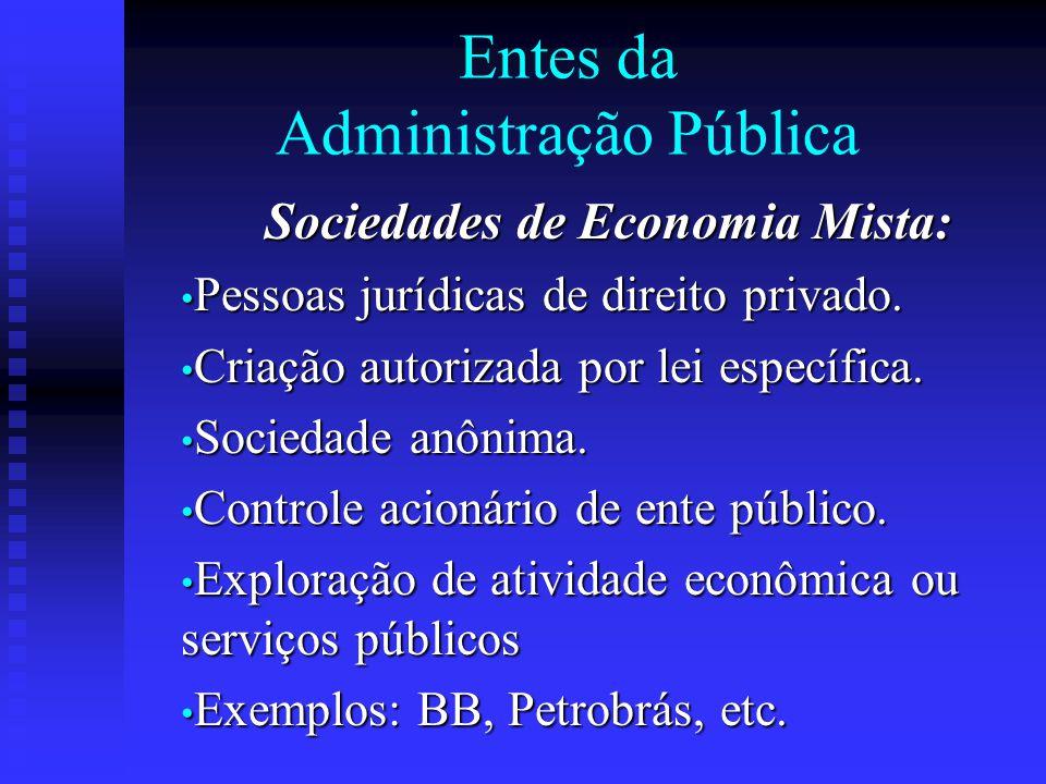 Entes da Administração Pública Sociedades de Economia Mista: Pessoas jurídicas de direito privado. Pessoas jurídicas de direito privado. Criação autor