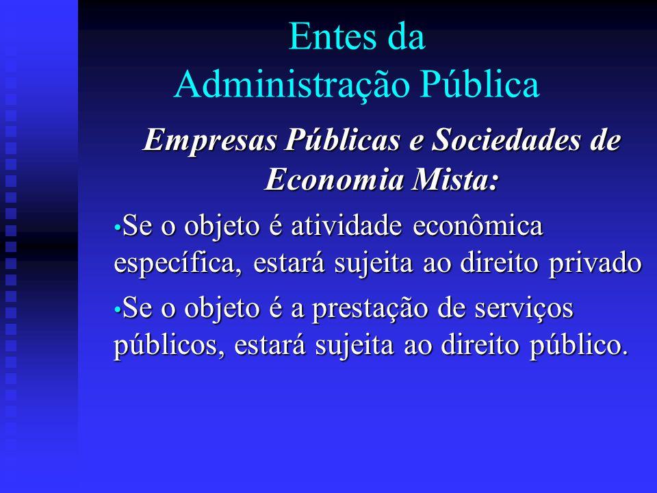 Entes da Administração Pública Empresas Públicas e Sociedades de Economia Mista: Se o objeto é atividade econômica específica, estará sujeita ao direi